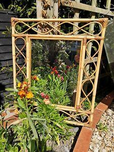 Vintage Bamboo & Cane Rectangular & Looped Mirror Tiki Boho Albini Style