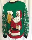 Mens Ugly Christmas Sweater Santa Drinking Beer NWT Size Large Green