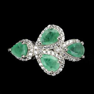 Unheated Pear Emerald 6x4mm Cz 14K White Gold Plate 925 Sterling Silver Ring 6.5