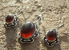 Handmade ethnic silver plated earrings and pendant with red onyx cabochons