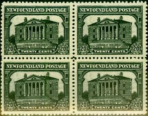 Newfoundland 1931 20c Black SG187 V.F MNH & LMM Block of 4