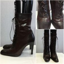 Russell & Bromley Ladies Brown Brogue Lace Up Mid Calf Boots Uk 5/38 Steam Punk
