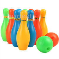 10 Pin Skittle 2 Balls Bowling Set Indoor Outdoor Party Game Toy Kid Child Color