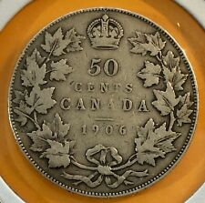 1906 Canada, 50 Cents / Half Dollar, Silver Coin, Old Canadian Antique