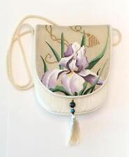 "Sophia Cream Iris Silk Purse Style ""B"" complete HP Needlepoint Canvas~ EZ Finish"