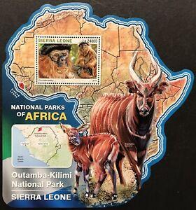 SIERRA LEONE WILD ANIMALS MAP SHAPE STAMPS 16 MNH NAT PARKS AFRICA BONGO COLOBUS
