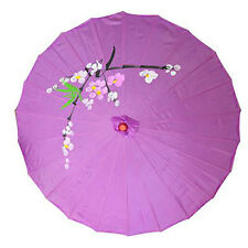 Vintage Oriental Folding Purple Red Wedding Party Bamboo Umbrella Parasol 22""