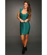 French Connection Spotlight Green Dress Bandage Bodycon Mini Cap Sleeve 8 M