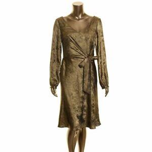 LAUREN RALPH LAUREN Women's Metallic Shimmer Faux-wrap A-Line Dress TEDO