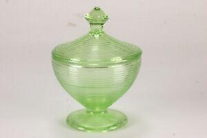 Old English Or Threading Pattern Indiana Uranium Glass Lidded Sugar Bowl Green