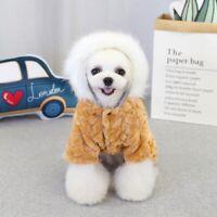 Pet Dog Winter Warm Coat with Big Fur Collar Four Legs Jumpsuit Jacket Hoodie