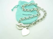 """Tiffany & Co. Sterling Silver Heart Tag Toggle Chain Link Necklace 16"""""""