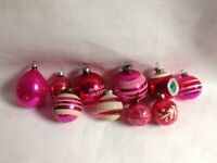 Variety of 10 PINK Vintage Christmas Ornaments Glass