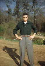 35MM Slide 1950s Kodachrome Red Border Young Model W/ Green Shirt & Slacks