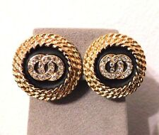 Vintage Gold Tone Rope Framed Enamel Rhinestone Button Clip Earrings
