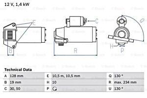 BOSCH Starter 12V For VW AUDI SEAT Bora Golf Mk4 Sharan A3 Alhambra 0986024730