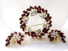 Vintage Trifari Brooch Earrings Set Amethyst Purple & Alexandrite Wreath 1961