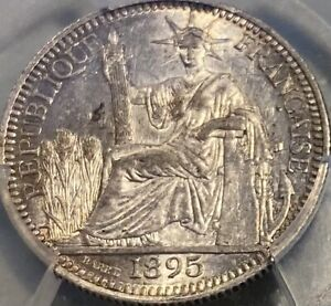 French Indo-China 1895-A 10 Cents Centimes PCGS AU55 Golden Tone Luster  Rare!