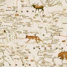 Henry Glass Yellowstone Map Cream-100% Cotton Fabric