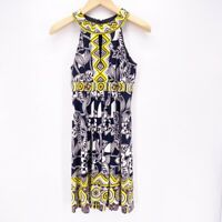 Muse Womens A Line Dress White Black Floral Pleated Sleeveless Lined Stretch 8