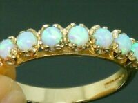 9ct Gold  Fiery Opal  Hallmarked Eternity  Ring size N