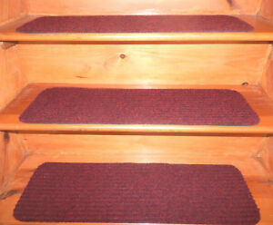 "9"" x 30""100% Flexible Vinyl In/Outdoor Stair Treads Peel & Stick Red Choice Step"
