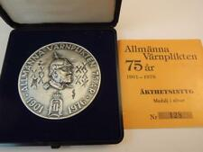 1976 Swedish military obligation 75 years anniversary Medal 56mm 100g Silver/925