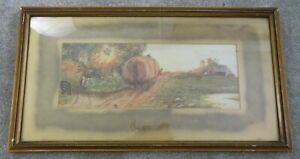 Helen - Lovely Old Country Scene Framed Picture dated 1914