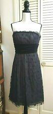 KAY UNGER strapless lace overlay polka dot velvet waist Dress sz 6