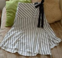 MARKS & SPENCER WHITE BLACK STRIPE ASYMMETRIC CALF LENGTH  SKIRT UK 8 NEW