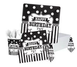 "Happy Birthday Paper NAPKINS 9"" Black & White Decorations Stripes & Polka Dot"