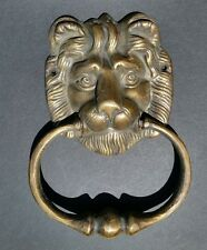 "Big Antique Vintage Style Brass Lion Head Door Knocker, Towel Ring 6 1/2"" # D2"