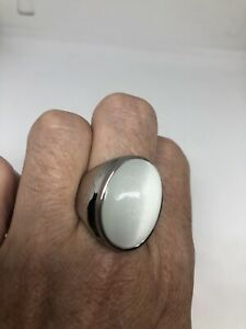 Vintage White Ring Silver Stainless Steel Glass Cats Eye Size 12