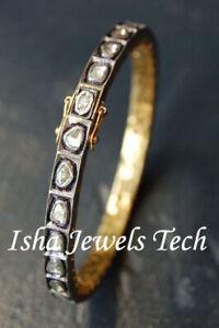 Victorian Natural Uncut Diamond Polki 925 Sterling Silver Bangle Bracelet