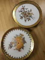 Pair Laurent's Spanish Porcelain Side Plates With 24k Gold Flower Design