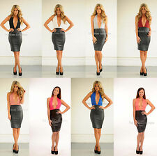 Faux Leather Halterneck Stretch, Bodycon Dresses for Women