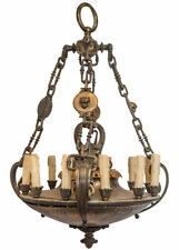 Antique English Regency Style Bronze and Brass Chandelier