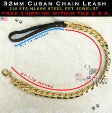Cuban Gold Pet Chain Leash 32mm Dog Leash 316L Stainless Steel-AUTHORIZED SELLER