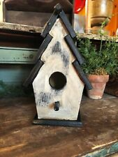 Primitive Wood Birdhouse Painted Black And Distressed White