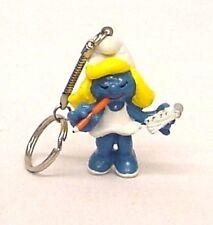Vintage 1980's Secretary Smurfette PVC Figure Key chain