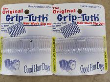2 sets de 2=4 PEINES CRISTAL grip-tuth Culotte 8.3cm Good Hair Days EEUU 40125