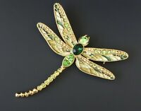 Unique vintage style  green Dragonfly  brooch pin