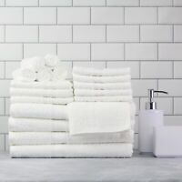 Cotton Bath Towels 18-Piece Towel Set Thick & Plush Hand Bath Towel WHITE