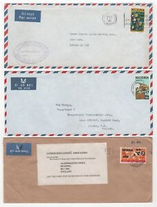 1974 to 1981 NIGERIA - 3 x Air Mail Covers to READING & LONDON GB
