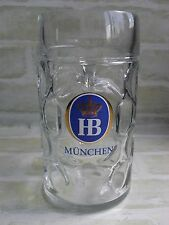 Collectable 1 Litre HB Munchen Dimpled Stein Beer Mug / Glass