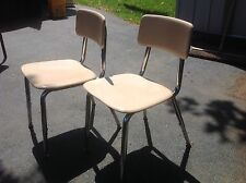 "2 ""VIRCO"" HARD PLASTIC ADJUSTABLE SCHOOL CHAIRS  SEATS & BACK TAN COLOR SEAT"