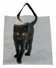 Cat Shopper Carry Bag Tote Handles are the Cats Tail - Black Cat Light Blue