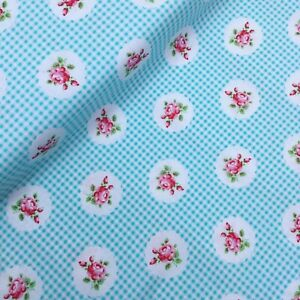 Gingham check red Rose Vintage Floral Fabric Material 100% Cotton HALF METRE