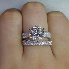 1.50Ct Round Cut Diamond Solitaire Bridal Engagement Ring 14k white Gold Finish