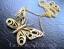 """Vintage 18"""" Gold Tone Open Work Layered Butterfly Pendant Chain Necklace"""